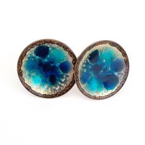 Vintage Hogan Bolas Earrings Blue Enamel on Copper